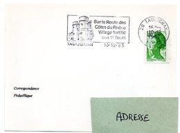 DROME - Dépt N° 26 = TAULIGNAN 1985 = Flamme Type II = SECAP Illustrée  'VILLAGE Fortifié Aux 11 Tours' - Marcophilie (Lettres)