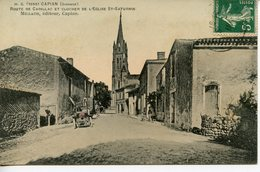 927. CPA 33 CAPIAN. CARTE ENTIEREMENT DEDOUBLEE. ROUTE DE CADILLAC ET CLOCHER DE L'EGLISE ST-SATURNIN 1910 - France