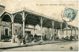 928. CPA 33 BRANNE. CARTE ENTIEREMENT DEDOUBLEE. LE MARCHE 1907 - France