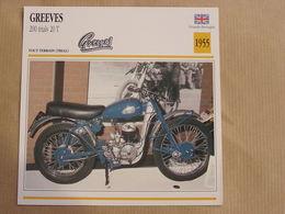 GREEVES 200 Trials 20 T  England 1955 Grande Bretagne Moto Fiche Descriptive Motocyclette Motos Motorcycle Motocyclette - Picture Cards