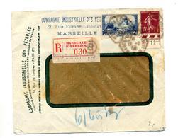 Lettre Recommandee Marseille Ferreol Sur Moulin Semeuse Entete Compagnie Petrole - Marcophilie (Lettres)