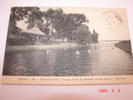 C.P.A.- Tours Plage (37) -  Grande Ecole De Natation De L'Ile Aucard - 1917 - SUP (BA6) - Tours