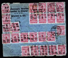 A5986) DR Infla Brief Worms 03.11.23 I. D. Schweiz M. 60 Marken Als MeF - Briefe U. Dokumente