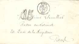 1867- Enveloppe En Port Du De Paris ( 60 ) Avec Levée 3 / 5   Taxe Double Trait  15 D  -voir Au Dos - 1849-1876: Klassik