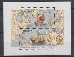 Europa Cept 1992 Faroe Islands M/s  ** Mnh (42246E) Rock Bottom - Europa-CEPT
