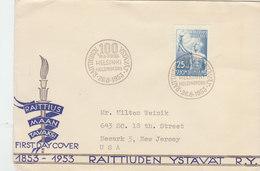 FINLAND 1953 FDC 100 Years Raittiuden Ystävät.BARGAIN.!! - Finlande