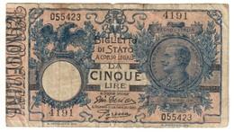 Italy 5 Lire 29/07/1918 Tagli / Tears - [ 1] …-1946 : Kingdom