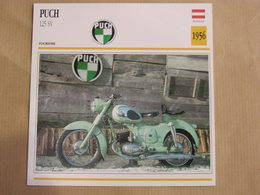 PUCH 125 SV Autriche 1956 Moto Fiche Descriptive Motocyclette Motos Motorcycle Motocyclette - Fiches Illustrées