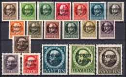 152-170A Aufdruck Freistaat Bayern Auf Ludwig Gezähnt, Satz Kpl. 19 Werte ** - Bayern