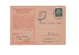 KZ KL Sachsenhausen - Postkarte Eines Insassen Von 1941 Nach Brünn Im Protektorat Böhmen Und Mähren - Judaika / Judaica - Duitsland