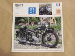PEUGEOT P 105 DT France 1933 Moto Fiche Descriptive Motocyclette Motos Motorcycle Motocyclette - Fiches Illustrées
