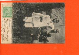 Nu - Femme - ZULU Lovers - Timbre égyptien - édition By J. Barnett & Co N°217( Carte Décolée Milieu) Afrique - Zuid-Afrika