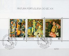 Moderne Gemälde 1988 Portugal Blocks 59 O 7€ Stilleben Viola Gaukler Gitarre Hb M/s Sheet Art S/s Bloc Bf Paintings - 1910 - ... Repubblica