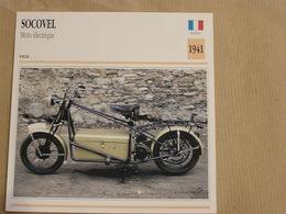 SOCOVEL Moto Electrique  France 1941 Moto Fiche Descriptive Motocyclette Motos Motorcycle Motocyclette - Fiches Illustrées