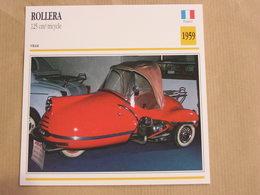 ROLLERA 125 Cm3 Tricycle France 1959 Moto Fiche Descriptive Motocyclette Motos Motorcycle Motocyclette - Fiches Illustrées