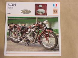 RADIOR 500 ASSC France 1929 Moto Fiche Descriptive Motocyclette Motos Motorcycle Motocyclette - Sammelkarten, Lernkarten