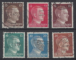 Alemania Imperio U 711/716 (o) Hitler. 1941. Grabados - Gebruikt