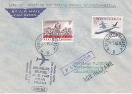 Sabena - Première Liaison Par Avion  - Bruxelles/Brussel - Milan -  N° 575 - 1960 - Non Réclamé Retour à L'envoyeur - Poste Aérienne