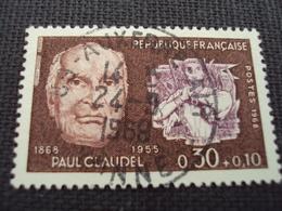 """60-69- Timbre Oblitéré N°  1553  """" Paul  Claudel    """"   0.30 - Francia"""