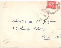50c.Paix Avec Bande Pub BLEDINE Oblitéré CHATEAUBRIANT Loire Inférieure Dateur A5 - Postmark Collection (Covers)