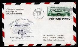 A5987) US Zeppelinbrief Chicago 26.10.33 N. Friedrichshafen M. Mi.358 - Briefe U. Dokumente