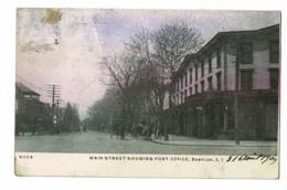 Main Street Showing Post Office, Babylon, L.I (animation) Circulé 1909, Timbre Décollé Au Verso, Collé & Décollé Au Rect - Long Island