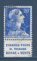 France Marianne De Muller - YT N° 1011Bb - YT N° 1011 B B - Pub Thiaude - Oblitéré - 1955 à 1959 - 1955- Marianna Di Muller