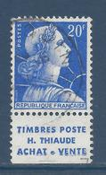 France Marianne De Muller - YT N° 1011Bb - YT N° 1011 B B - Pub Thiaude - Oblitéré - 1955 à 1959 - 1955- Marianne (Muller)