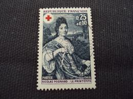 """60-69- Timbre Oblitéré N°1580  """" Croix Rouge, Nicolas Mignard, Le Printemps  """"   0.30 - Francia"""