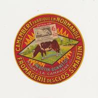 ETIQUETTE DE CAMEMBERT HEURTIN BONNETOT MAGNY LA CAMPAGNE 14 - Quesos