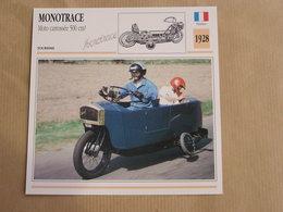 MOTOTRACE 500 Cm3 Carrossée France 1928 Moto Fiche Descriptive Motocyclette Motos Motorcycle Motocyclette - Fiches Illustrées