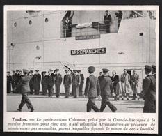 1947  - TOULON LE PORTE AVIONS BRITANNIQUE COLOSSUS REBAPTISé ARROMANCHES  3R130 - Vieux Papiers