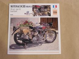 MOTOSACOCHE 350 Cm3 Type 312 Grand Sport France 1936 Moto Fiche Descriptive Motocyclette Motos Motorcycle Motocyclette - Fiches Illustrées