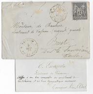 """1878 - REUNION - SAGE NON DENTELE Sur LETTRE Avec CORR. D'ARMEES """"ST PAUL"""" TRES RARE ! => BREST - Réunion (1852-1975)"""
