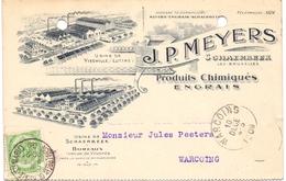 Briefkaart Carte Postale - Engrais J.P. Meyers - Schaerbeek -  à Warcoing - 1909 - Cartoline [1871-09]
