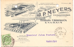 Briefkaart Carte Postale - Engrais J.P. Meyers - Schaerbeek -  à Warcoing - 1909 - Entiers Postaux