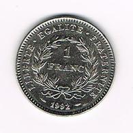 &-  FRANKRIJK 1 FRANC 1992  200th ANNIVERSARY  OF FRENCH REPUBLIC - H. 1 Franc