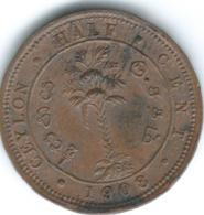 Ceylon - Edward VII - 1908 - ½ Cent - KM101 - Sri Lanka