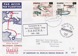 Sabena - Anniversaire De La 1ère Liaison Belgique-Congo (1935-1985) Bruxelles-Kinshasa 1985 - Poste Aérienne