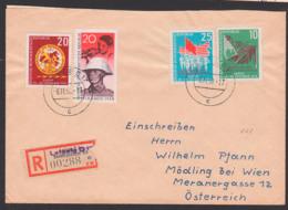 Leipzig R-Ausl-Brief Mit DDR 662, 20 Pfg. Jahrestag Novemberrevolution, Arbeiter Mit Gewehr, Soldat NVA Nach Österreich - [6] Repubblica Democratica