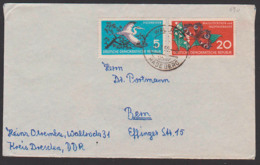 Wallroda üb. Radeberg Portogenau Auf Auslands-Brief DDR 690 Maiglöckchen Und Tagpfauenauge, Fischreiher - [6] Repubblica Democratica