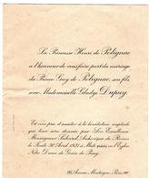 Carton D'Invitation Du Mariage - Prince Guy De Polignac Avec Mademoiselle Gladys Dupuy Le Jeudi 30 Avril 1931 à Midi Pré - Boda