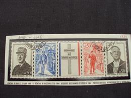 """70-79-bande De 4 Timbres Avec Vignette Oblitérée  N°1695 à 1698    """"  Hommage Au Gal De Gaulle """"   0.30 - Francia"""
