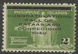 Philippines (Japanese Occupation)  - 1942 Bataan & Corregidor MNH **     Sc N8 - Filippine