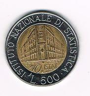 &-   ITALIE  500 LIRE  ISTITUTO NAZIONALE DI STATISTICA  1996 - 1946-… : République