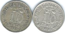 Ceylon - George V -  1914 - 10 Cents (KM104) & 1925 (KM104a) - Sri Lanka