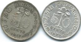 Ceylon - George V -  1917 - 50 Cents (KM109) & 1927 (KM109a) - Sri Lanka