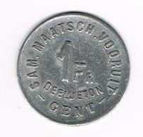 &-  SAM.MAATSCH. VOORUIT  1 FR. DEELJETON  GENT  1880 - Noodgeld