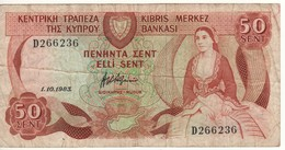CYPRUS   50 Cents      P49      1.10.1983 - Cyprus