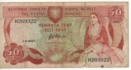 CYPRUS   50 Cents      P52      1.4.1987 - Cyprus